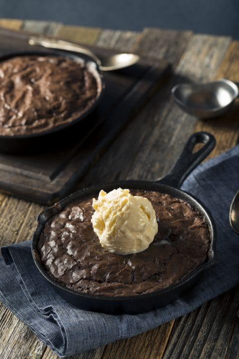 Homemade Sweet Dark Chocolate Brownie in a Skillet