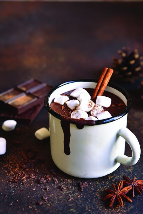 Homemade spicy hot chocolate with cinnamon and marshmallows